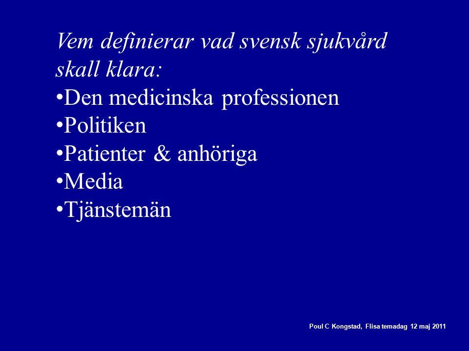 Poul C Kongstad, Flisa temadag 12 maj 2011 Vem definierar vad svensk sjukvård skall klara: Den medicinska professionen Politiken Patienter & anhöriga Media Tjänstemän