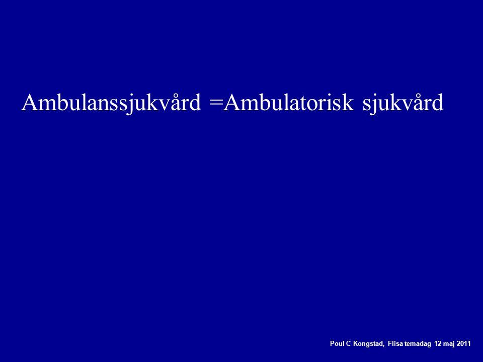 Poul C Kongstad, Flisa temadag 12 maj 2011 Ambulanssjukvård =Ambulatorisk sjukvård