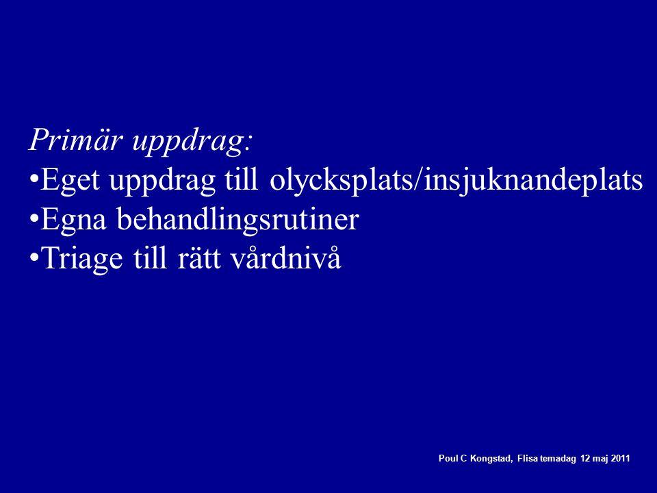 Poul C Kongstad, Flisa temadag 12 maj 2011 Primär uppdrag: Eget uppdrag till olycksplats/insjuknandeplats Egna behandlingsrutiner Triage till rätt vårdnivå