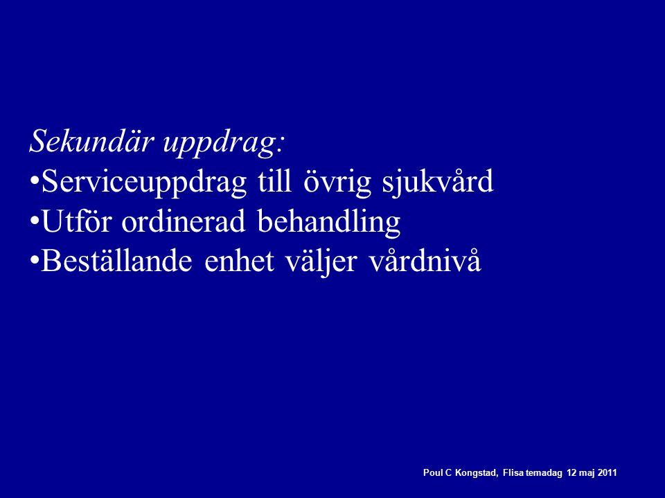 Poul C Kongstad, Flisa temadag 12 maj 2011 Sekundär uppdrag: Serviceuppdrag till övrig sjukvård Utför ordinerad behandling Beställande enhet väljer vårdnivå