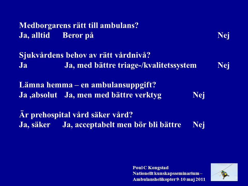 Poul C Kongstad Nationellt kunskapsseminarium – Ambulanshelikopter 9-10 maj 2011 Medborgarens rätt till ambulans.