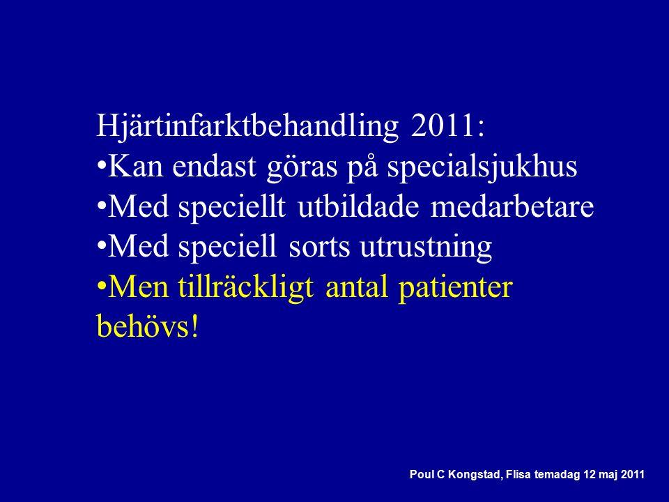 Hjärtinfarktbehandling 2011: Kan endast göras på specialsjukhus Med speciellt utbildade medarbetare Med speciell sorts utrustning Men tillräckligt antal patienter behövs.