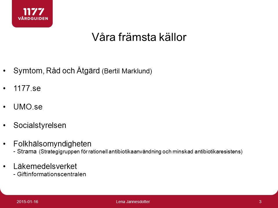 Våra främsta källor Symtom, Råd och Åtgärd (Bertil Marklund) 1177.se UMO.se Socialstyrelsen Folkhälsomyndigheten - Strama (Strategigruppen för rationell antibiotikaanvändning och minskad antibiotikaresistens) Läkemedelsverket - Giftinformationscentralen 3 2015-01-16Lena Jannesdotter