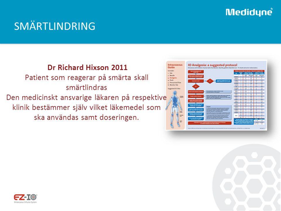 SMÄRTLINDRING Dr Richard Hixson 2011 Patient som reagerar på smärta skall smärtlindras Den medicinskt ansvarige läkaren på respektive klinik bestämmer själv vilket läkemedel som ska användas samt doseringen.