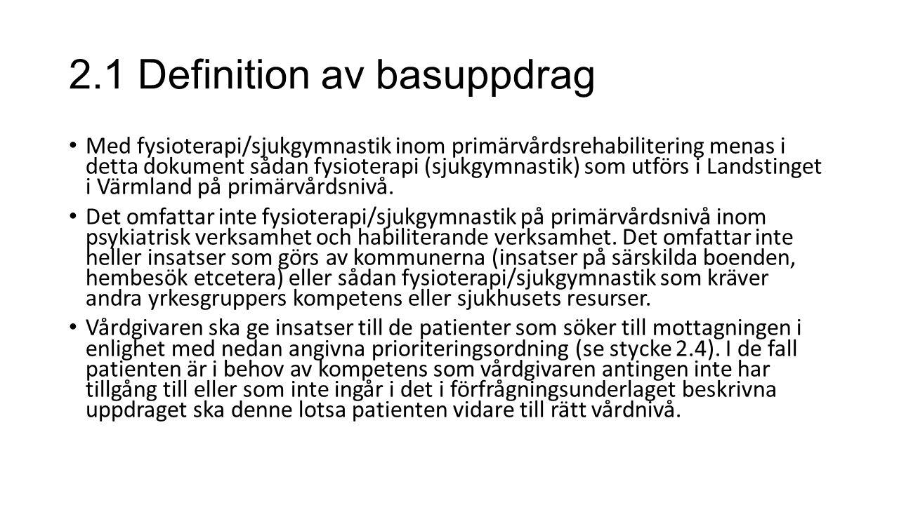 2.1 Definition av basuppdrag Med fysioterapi/sjukgymnastik inom primärvårdsrehabilitering menas i detta dokument sådan fysioterapi (sjukgymnastik) som utförs i Landstinget i Värmland på primärvårdsnivå.