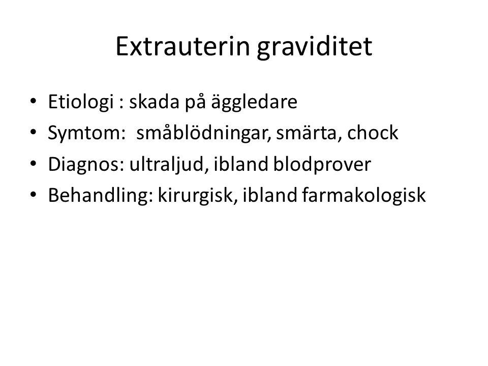 Extrauterin graviditet Etiologi : skada på äggledare Symtom: småblödningar, smärta, chock Diagnos: ultraljud, ibland blodprover Behandling: kirurgisk, ibland farmakologisk