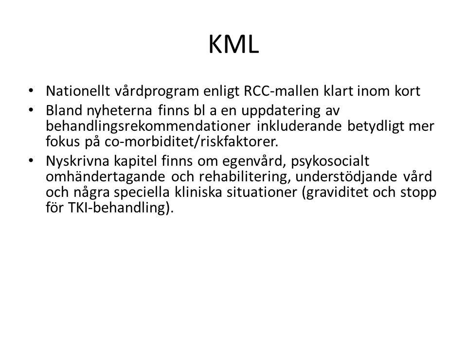 KML Nationellt vårdprogram enligt RCC-mallen klart inom kort Bland nyheterna finns bl a en uppdatering av behandlingsrekommendationer inkluderande betydligt mer fokus på co-morbiditet/riskfaktorer.