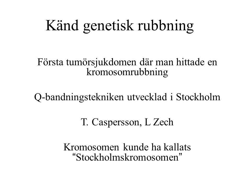Känd genetisk rubbning Första tumörsjukdomen där man hittade en kromosomrubbning Q-bandningstekniken utvecklad i Stockholm T. Caspersson, L Zech Kromo