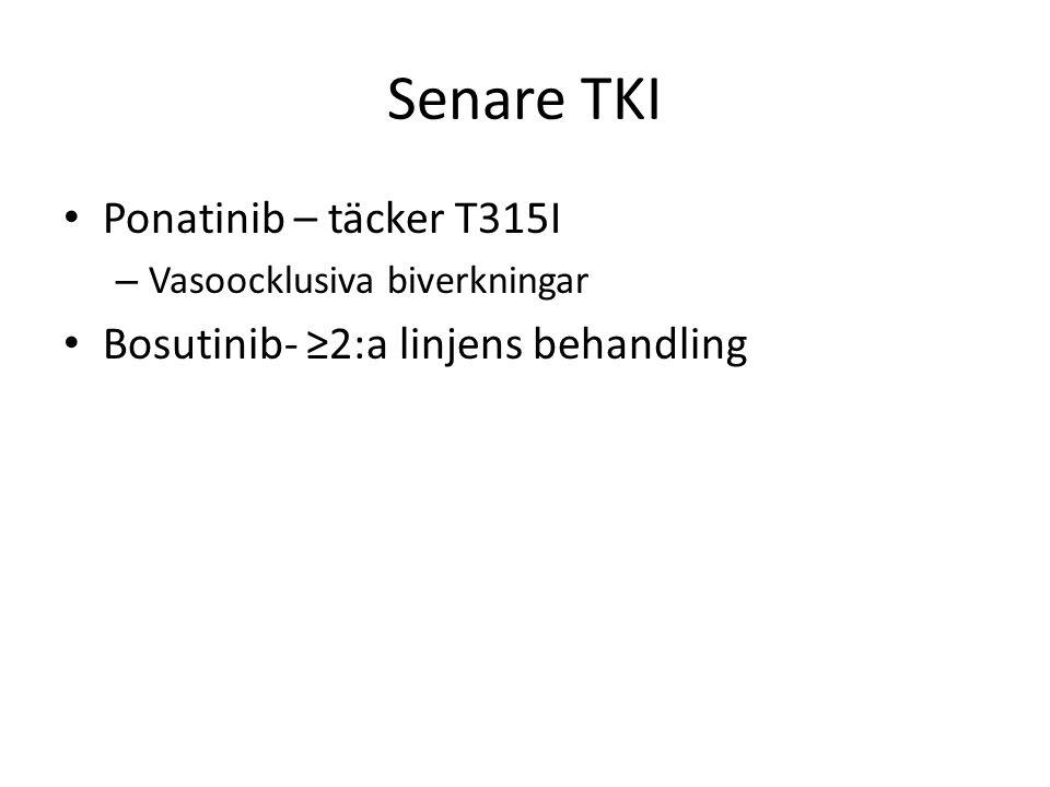 Senare TKI Ponatinib – täcker T315I – Vasoocklusiva biverkningar Bosutinib- ≥2:a linjens behandling