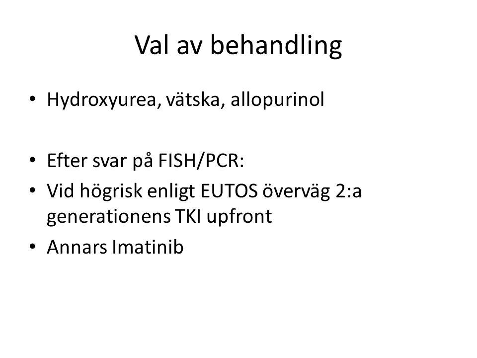 Val av behandling Hydroxyurea, vätska, allopurinol Efter svar på FISH/PCR: Vid högrisk enligt EUTOS överväg 2:a generationens TKI upfront Annars Imatinib