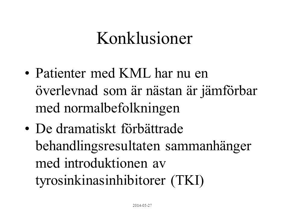 Konklusioner Patienter med KML har nu en överlevnad som är nästan är jämförbar med normalbefolkningen De dramatiskt förbättrade behandlingsresultaten sammanhänger med introduktionen av tyrosinkinasinhibitorer (TKI)