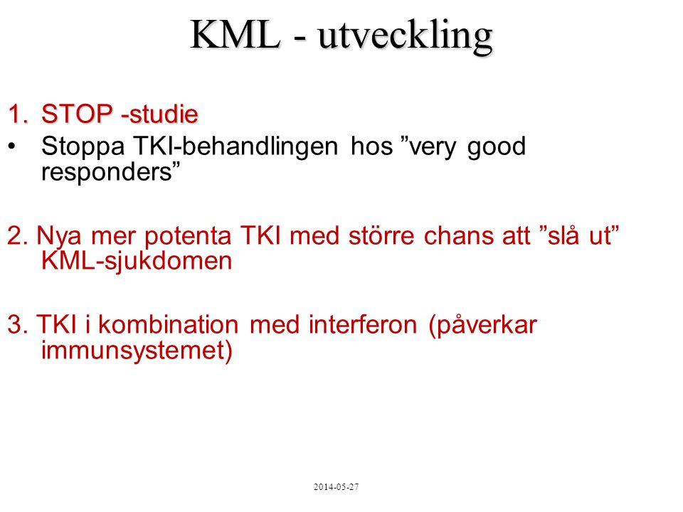 2014-05-27 KML - utveckling 1.STOP -studie Stoppa TKI-behandlingen hos very good responders 2.