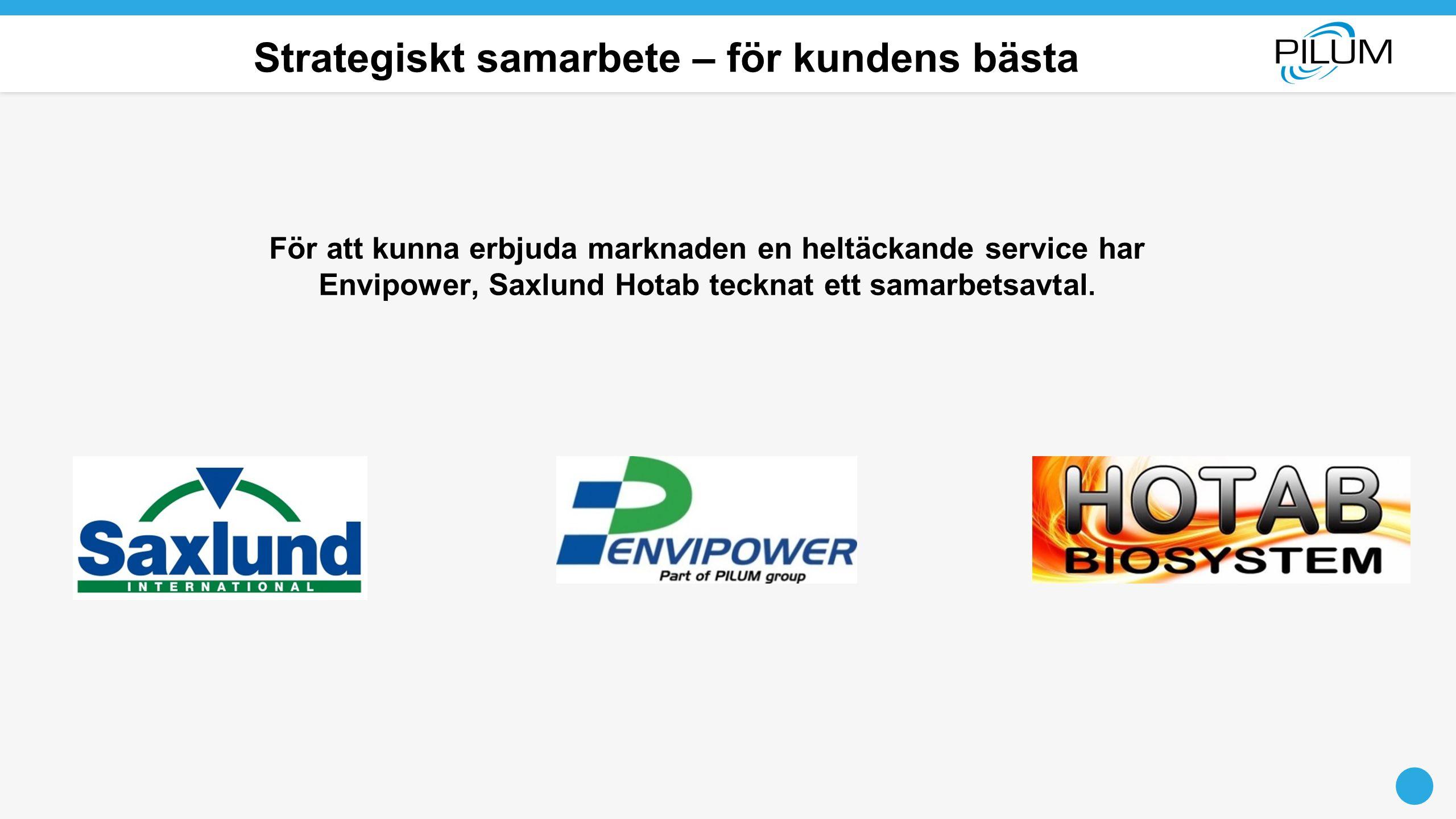 Strategiskt samarbete – för kundens bästa För att kunna erbjuda marknaden en heltäckande service har Envipower, Saxlund Hotab tecknat ett samarbetsavt