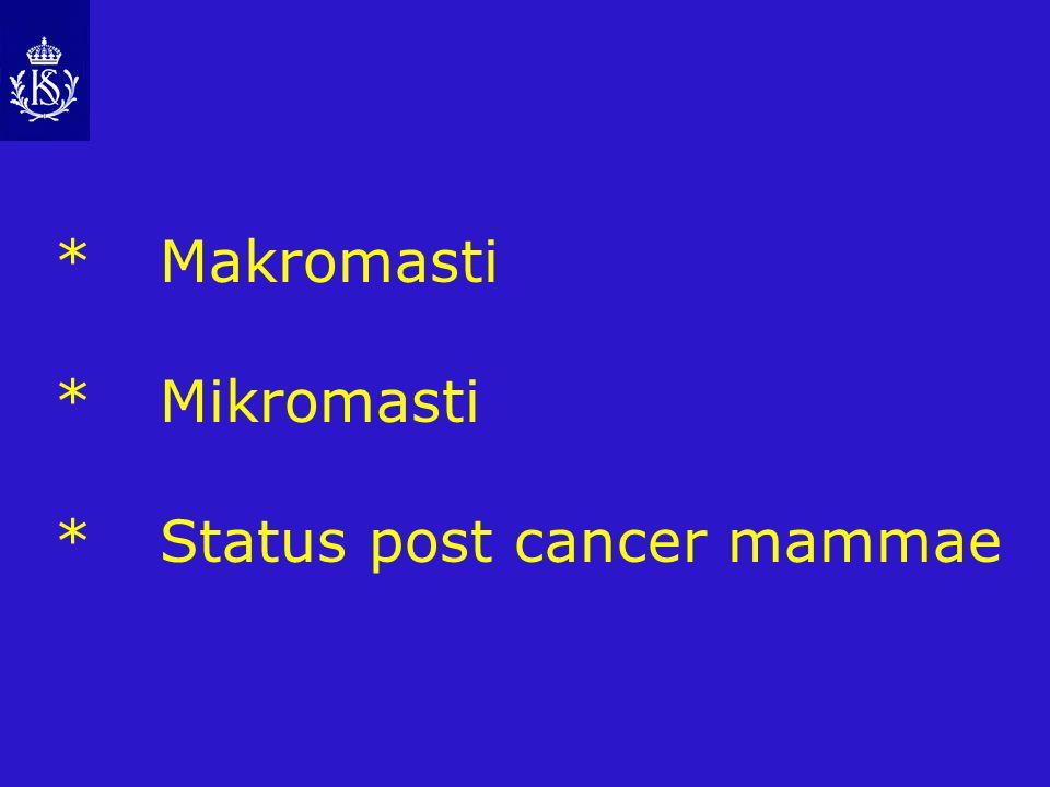 *Makromasti *Mikromasti *Status post cancer mammae