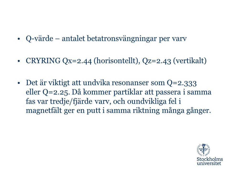 Q-värde – antalet betatronsvängningar per varv CRYRING Qx=2.44 (horisontellt), Qz=2.43 (vertikalt) Det är viktigt att undvika resonanser som Q=2.333 eller Q=2.25.