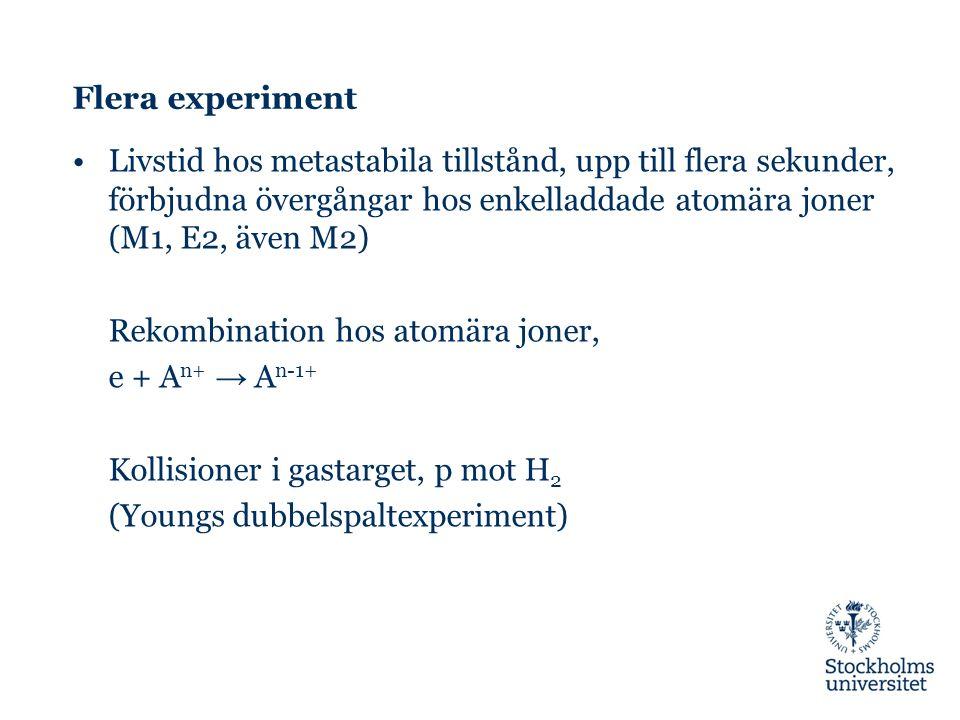 Flera experiment Livstid hos metastabila tillstånd, upp till flera sekunder, förbjudna övergångar hos enkelladdade atomära joner (M1, E2, även M2) Rekombination hos atomära joner, e + A n+ → A n-1+ Kollisioner i gastarget, p mot H 2 (Youngs dubbelspaltexperiment)
