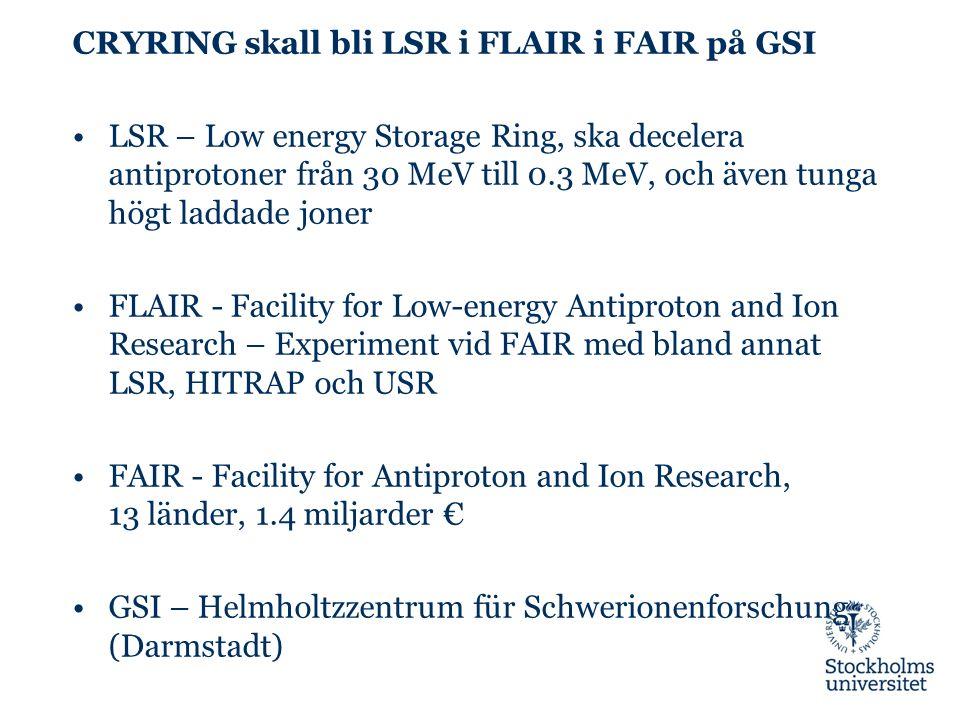 CRYRING skall bli LSR i FLAIR i FAIR på GSI LSR – Low energy Storage Ring, ska decelera antiprotoner från 30 MeV till 0.3 MeV, och även tunga högt laddade joner FLAIR - Facility for Low-energy Antiproton and Ion Research – Experiment vid FAIR med bland annat LSR, HITRAP och USR FAIR - Facility for Antiproton and Ion Research, 13 länder, 1.4 miljarder € GSI – Helmholtzzentrum für Schwerionenforschung (Darmstadt)
