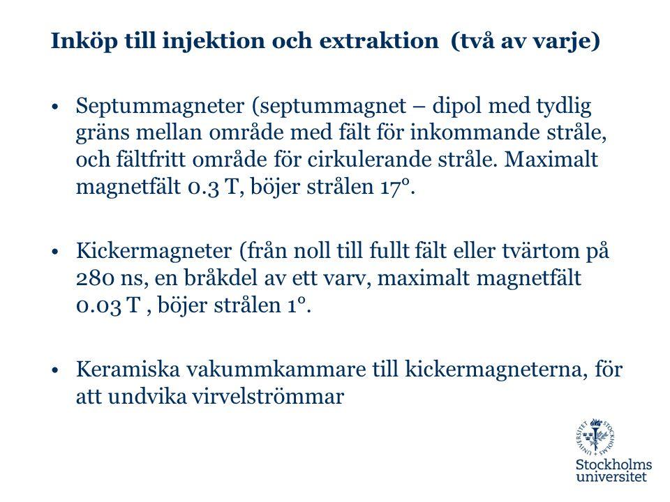 Inköp till injektion och extraktion (två av varje) Septummagneter (septummagnet – dipol med tydlig gräns mellan område med fält för inkommande stråle, och fältfritt område för cirkulerande stråle.