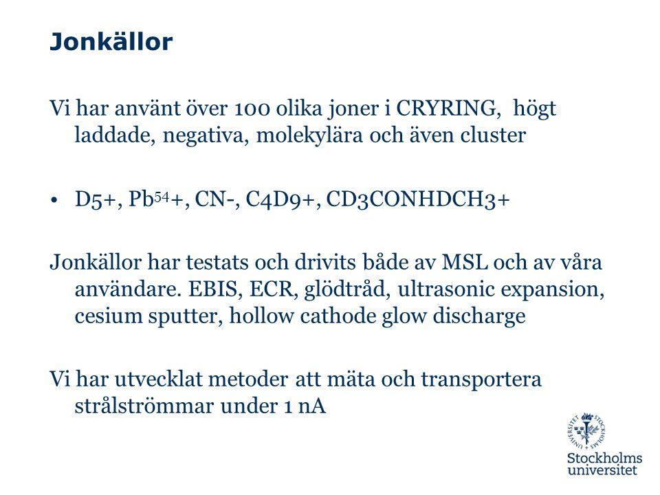 Jonkällor Vi har använt över 100 olika joner i CRYRING, högt laddade, negativa, molekylära och även cluster D5+, Pb 54 +, CN-, C4D9+, CD3CONHDCH3+ Jonkällor har testats och drivits både av MSL och av våra användare.