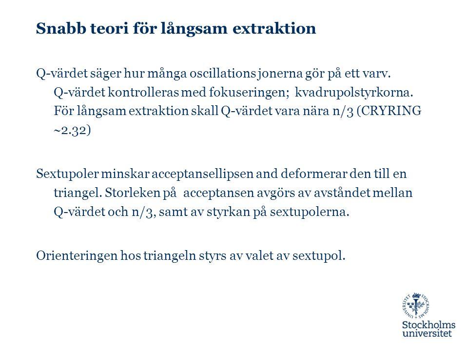 Snabb teori för långsam extraktion Q-värdet säger hur många oscillations jonerna gör på ett varv. Q-värdet kontrolleras med fokuseringen; kvadrupolsty