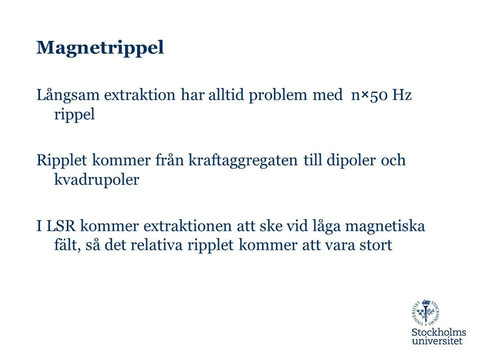 Magnetrippel Långsam extraktion har alltid problem med n×50 Hz rippel Ripplet kommer från kraftaggregaten till dipoler och kvadrupoler I LSR kommer ex
