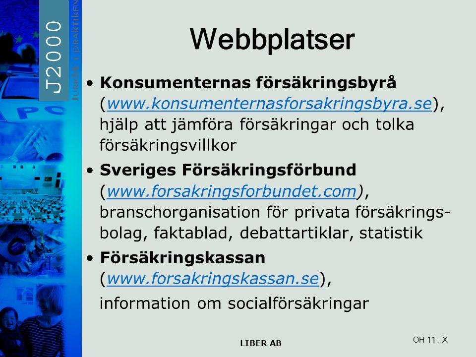 LIBER AB OH 11 Webbplatser Konsumenternas försäkringsbyrå (www.konsumenternasforsakringsbyra.se), hjälp att jämföra försäkringar och tolka försäkringsvillkorwww.konsumenternasforsakringsbyra.se Sveriges Försäkringsförbund (www.forsakringsforbundet.com), branschorganisation för privata försäkrings- bolag, faktablad, debattartiklar, statistikwww.forsakringsforbundet.com Försäkringskassan (www.forsakringskassan.se),www.forsakringskassan.se information om socialförsäkringar : X