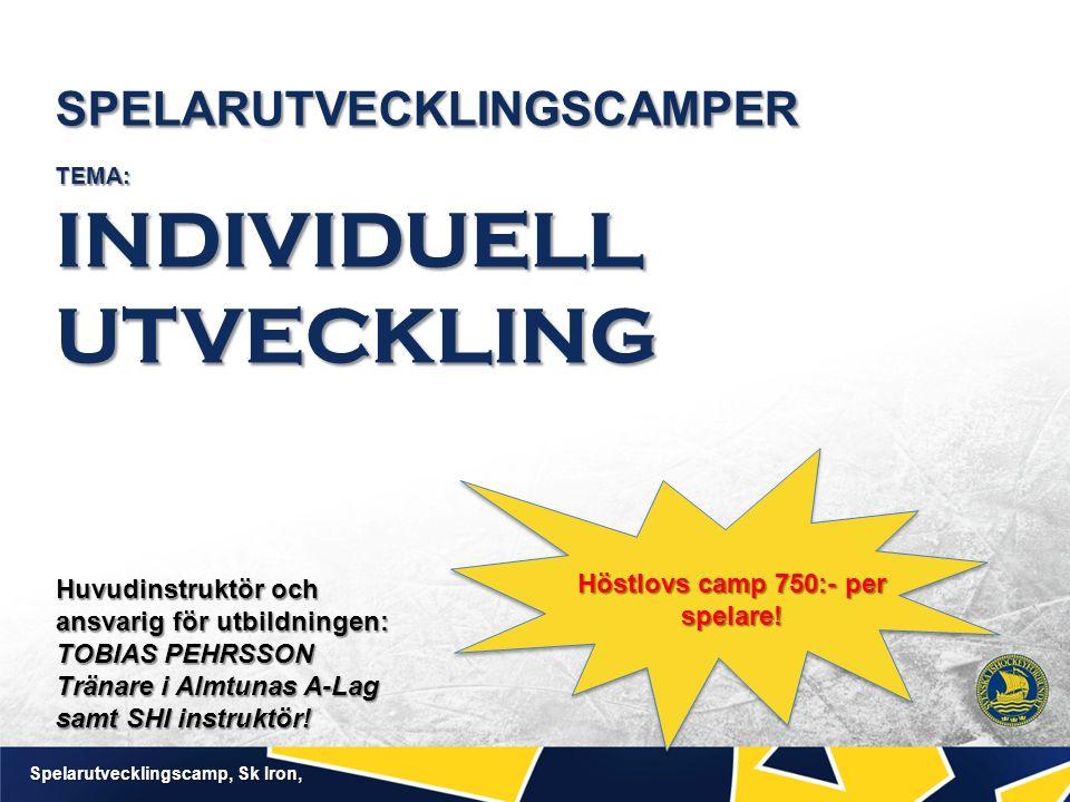 SPELARUTVECKLINGSCAMPER TEMA: INDIVIDUELL UTVECKLING Spelarutvecklingscamp, Sk Iron, Höstlovs camp 750:- per spelare! Huvudinstruktör och ansvarig för