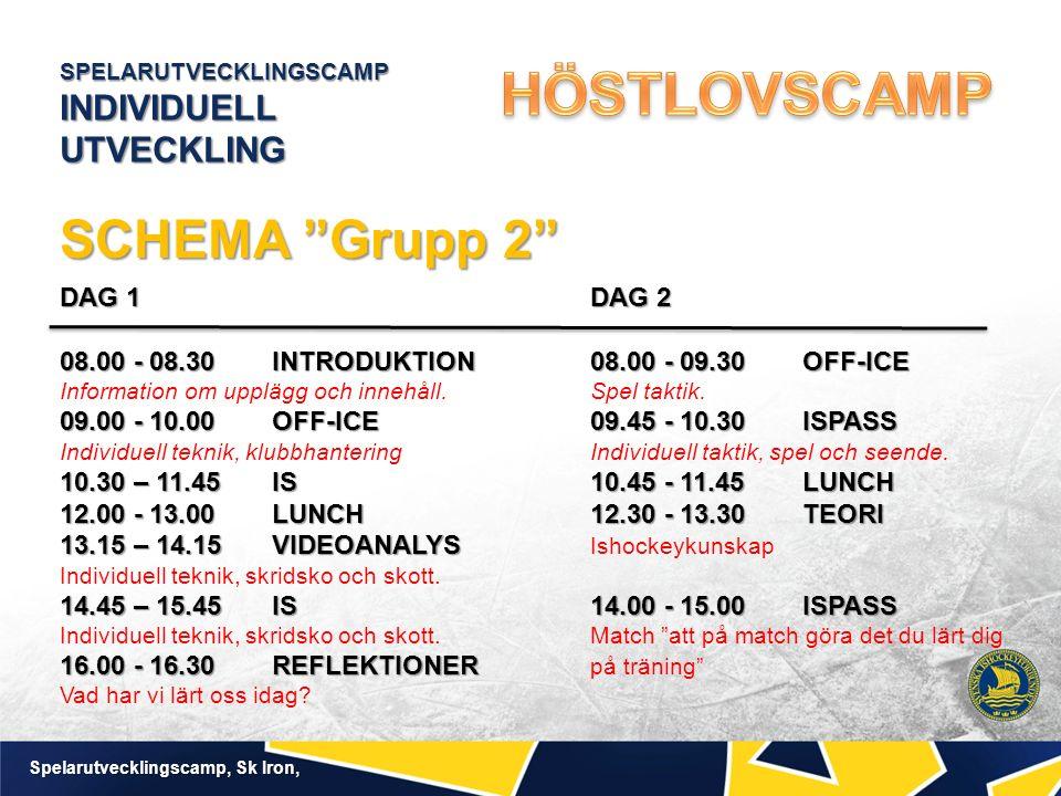 SPELARUTVECKLINGSCAMP INDIVIDUELL UTVECKLING Spelarutvecklingscamp, Sk Iron, SCHEMA Grupp 2 DAG 1DAG 2 08.00 - 08.30INTRODUKTION08.00 - 09.30OFF-ICE 09.00 - 10.00 OFF-ICE09.45 - 10.30ISPASS 10.30 – 11.45IS10.45 - 11.45LUNCH 12.00 - 13.00LUNCH12.30 - 13.30TEORI 13.15 – 14.15VIDEOANALYS 14.45 – 15.45 IS14.00 - 15.00ISPASS 16.00 - 16.30 REFLEKTIONER DAG 1DAG 2 08.00 - 08.30INTRODUKTION08.00 - 09.30OFF-ICE Information om upplägg och innehåll.Spel taktik.