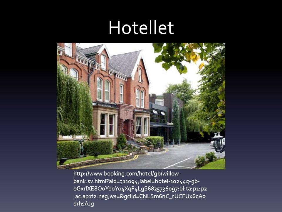 Hotellet http://www.booking.com/hotel/gb/willow- bank.sv.html?aid=311094;label=hotel-102445-gb- oGxrIXE8O0Yd0Yo4XqF4LgS6825736097:pl:ta:p1:p2 :ac:ap1t