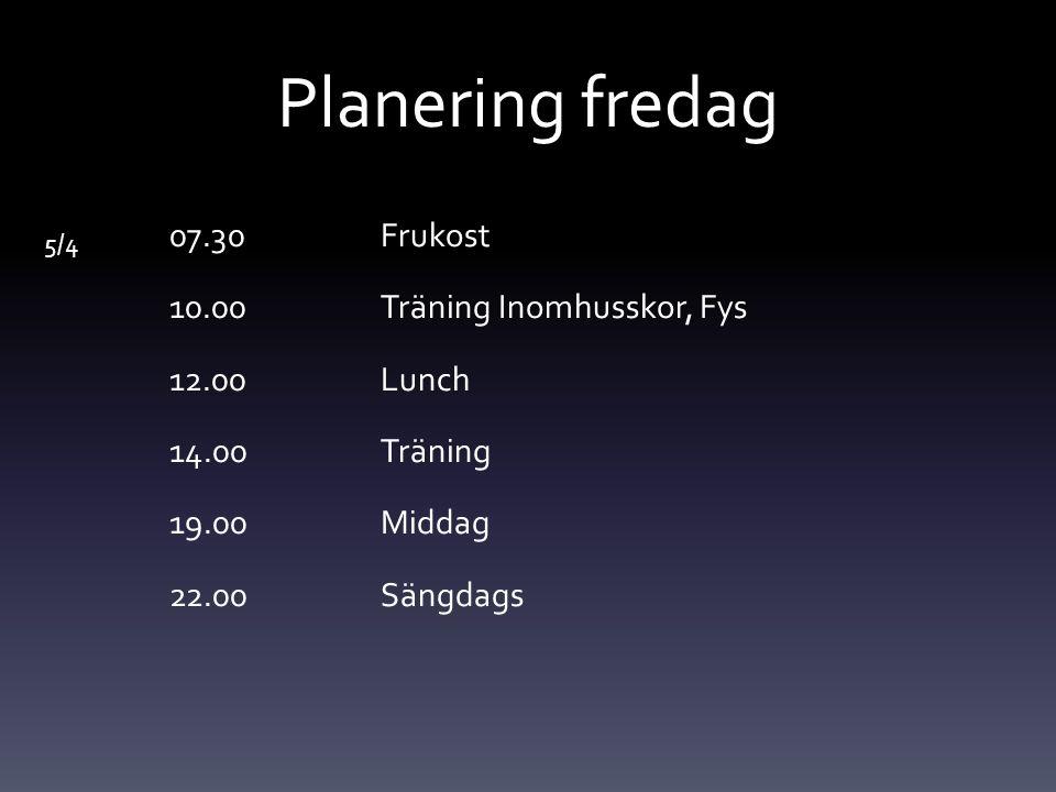 Planering lördag 6/4 07.30 Frukost 10.00Träning konstgräs 12.00Lunch 15.00Bolton-Wolves 19.00Middag och Avslutning 22.00Frikväll