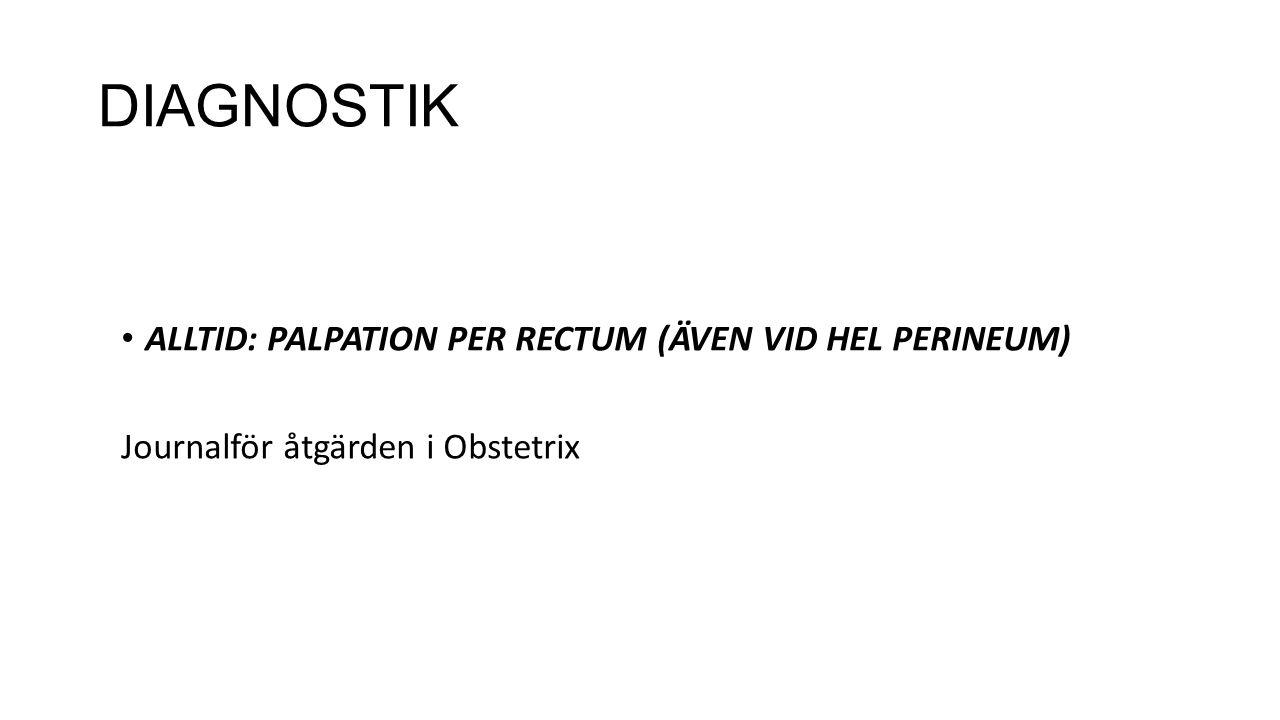 DIAGNOSTIK ALLTID: PALPATION PER RECTUM (ÄVEN VID HEL PERINEUM) Journalför åtgärden i Obstetrix
