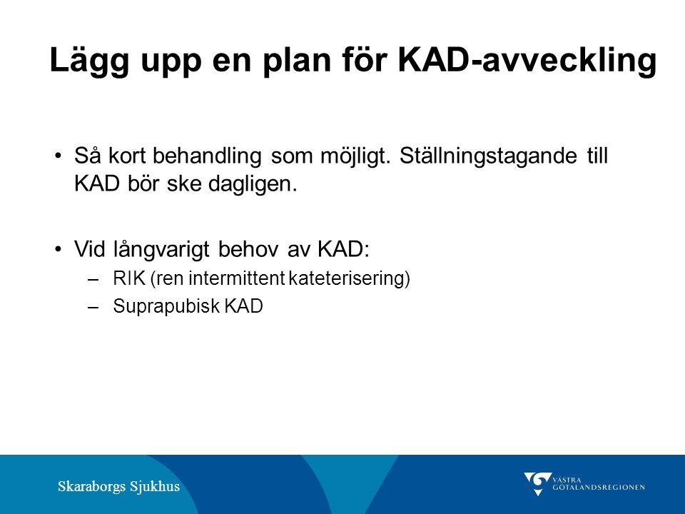 Skaraborgs Sjukhus Lägg upp en plan för KAD-avveckling Så kort behandling som möjligt. Ställningstagande till KAD bör ske dagligen. Vid långvarigt beh