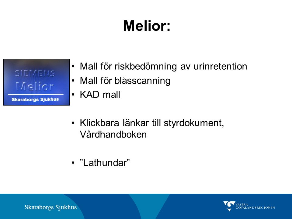 """Skaraborgs Sjukhus Melior: Mall för riskbedömning av urinretention Mall för blåsscanning KAD mall Klickbara länkar till styrdokument, Vårdhandboken """"L"""