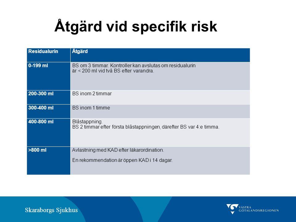Skaraborgs Sjukhus ResidualurinÅtgärd 0-199 mlBS om 3 timmar. Kontroller kan avslutas om residualurin är < 200 ml vid två BS efter varandra. 200-300 m