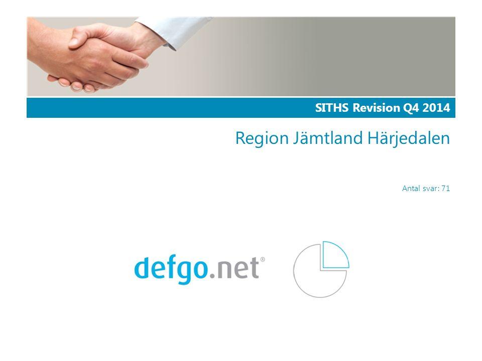 SITHS Revision Q4 2014 Region Jämtland Härjedalen Antal svar: 71