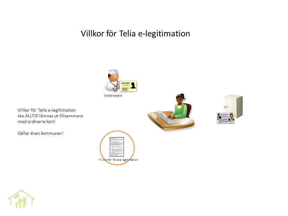 VAD VI GÖR OCH HUR Medarbetare Villkor för Telia e-legitimation ska ALLTID lämnas ut tillsammans med ordinarie kort.