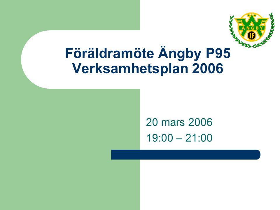 Föräldramöte Ängby P95 Verksamhetsplan 2006 20 mars 2006 19:00 – 21:00