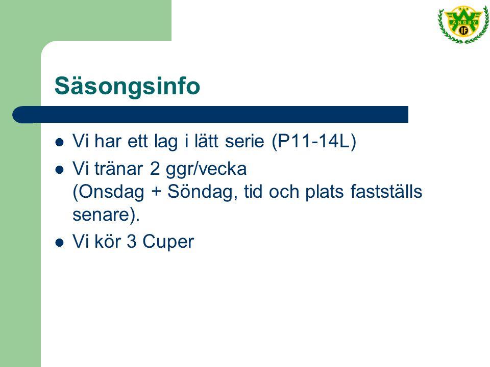 Säsongsinfo Vi har ett lag i lätt serie (P11-14L) Vi tränar 2 ggr/vecka (Onsdag + Söndag, tid och plats fastställs senare).