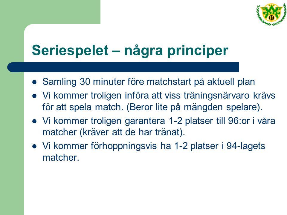 Seriespelet – några principer Samling 30 minuter före matchstart på aktuell plan Vi kommer troligen införa att viss träningsnärvaro krävs för att spela match.