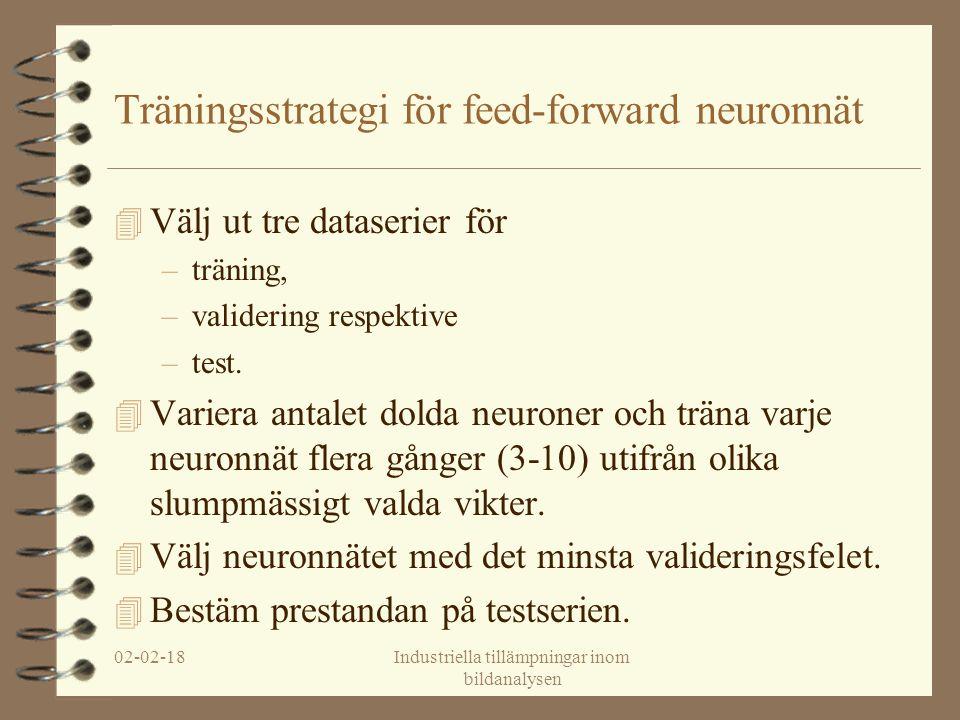 02-02-18Industriella tillämpningar inom bildanalysen Träningsstrategi för feed-forward neuronnät 4 Välj ut tre dataserier för –träning, –validering respektive –test.