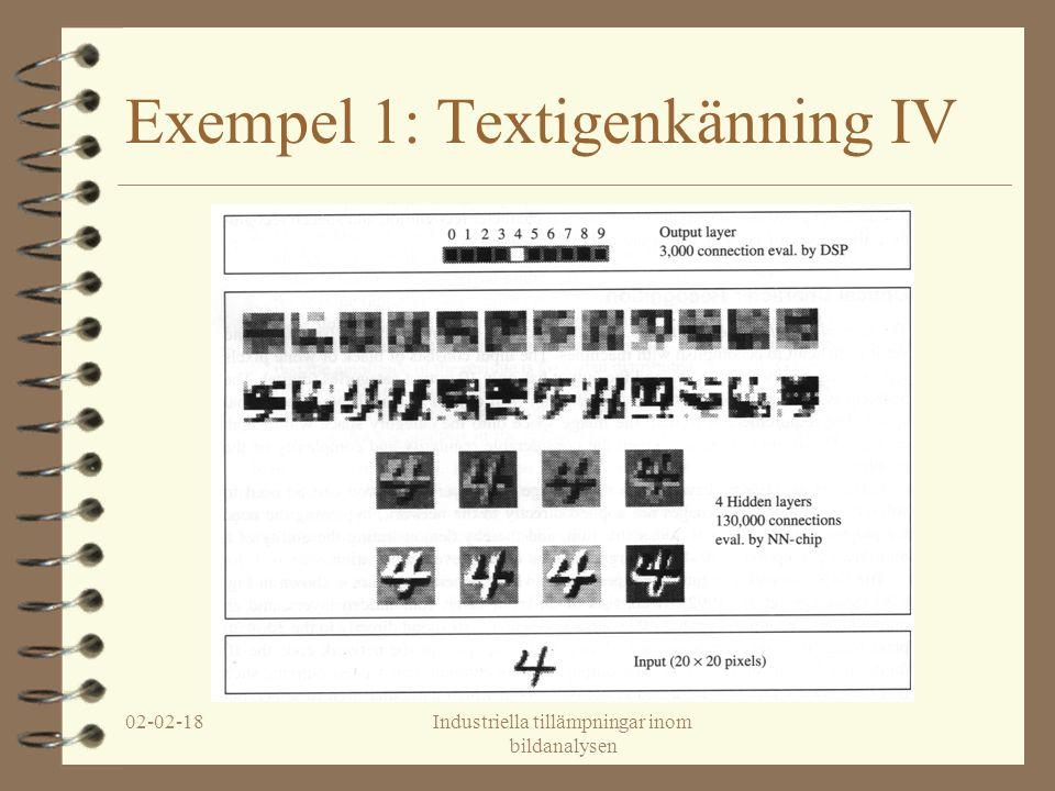 02-02-18Industriella tillämpningar inom bildanalysen Exempel 1: Textigenkänning IV