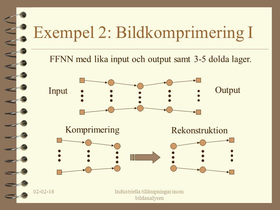 02-02-18Industriella tillämpningar inom bildanalysen Exempel 2: Bildkomprimering I FFNN med lika input och output samt 3-5 dolda lager.