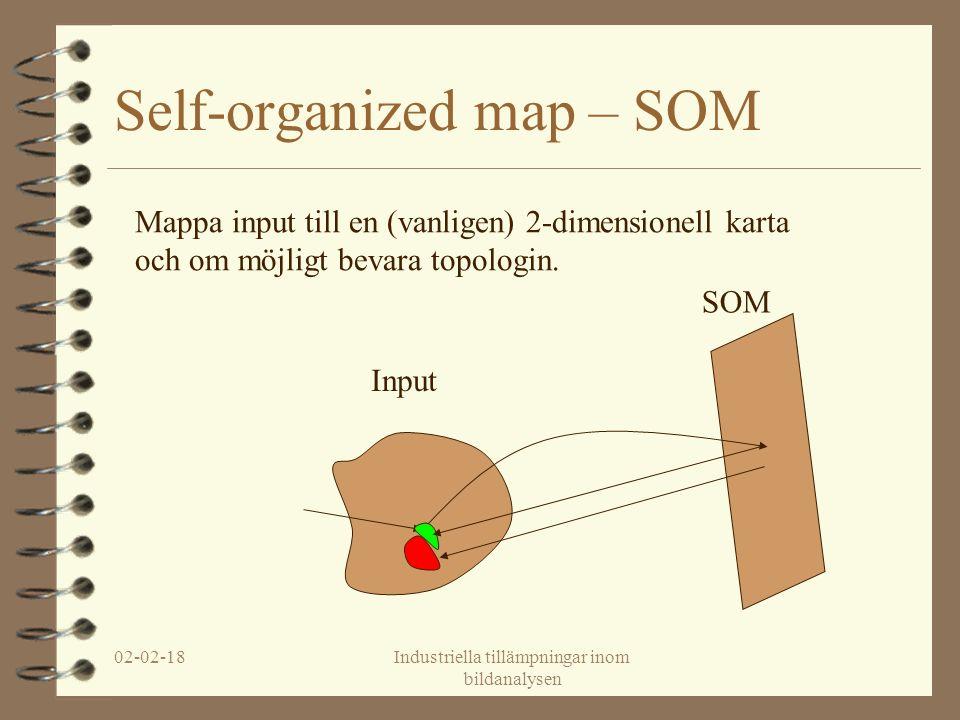 02-02-18Industriella tillämpningar inom bildanalysen Self-organized map – SOM Input SOM Mappa input till en (vanligen) 2-dimensionell karta och om möjligt bevara topologin.