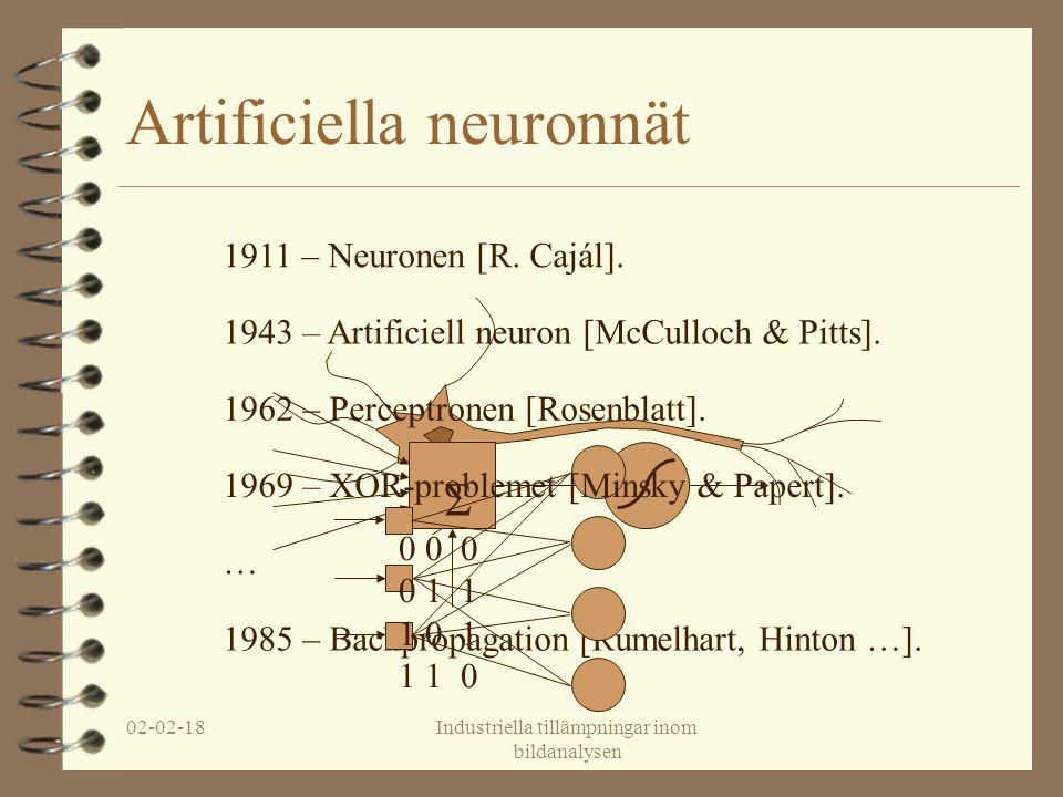 02-02-18Industriella tillämpningar inom bildanalysen Artificiella neuronnät … 1985 – Backpropagation [Rumelhart, Hinton …].