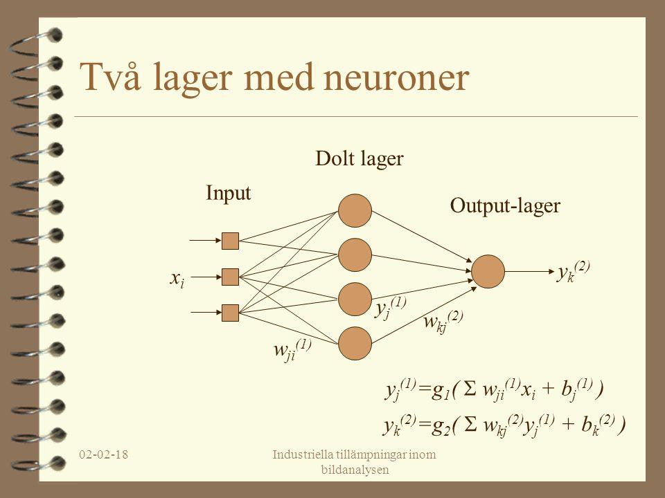 02-02-18Industriella tillämpningar inom bildanalysen Två lager med neuroner Input Dolt lager Output-lager xixi w ji (1) y j (1) w kj (2) y k (2) y k (2) =g 2 (  w kj (2) y j (1) + b k (2) ) y j (1) =g 1 (  w ji (1) x i + b j (1) )