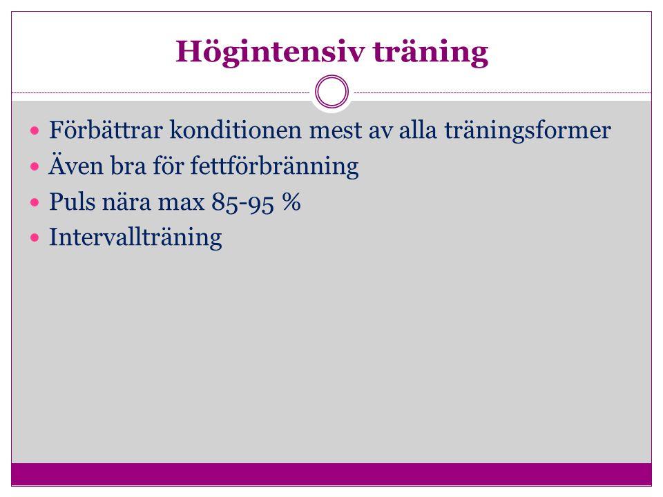 Högintensiv träning Förbättrar konditionen mest av alla träningsformer Även bra för fettförbränning Puls nära max 85-95 % Intervallträning