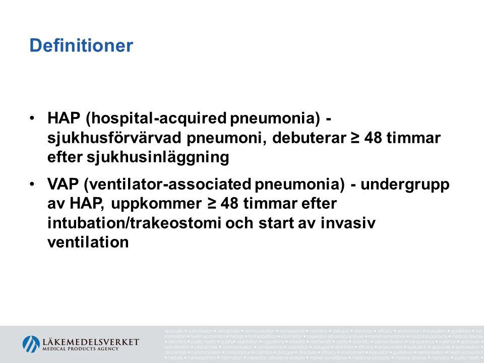Immunsupprimerade patienter I Pneumonier är vanliga Samhällsförvärvade pneumonier är vanligare än sjukhusförvärvade Ofta mer svårbehandlad pneumoni Högre morbiditet och mortalitet Konsultera infektionsspecialist vid komplicerad pneumoni