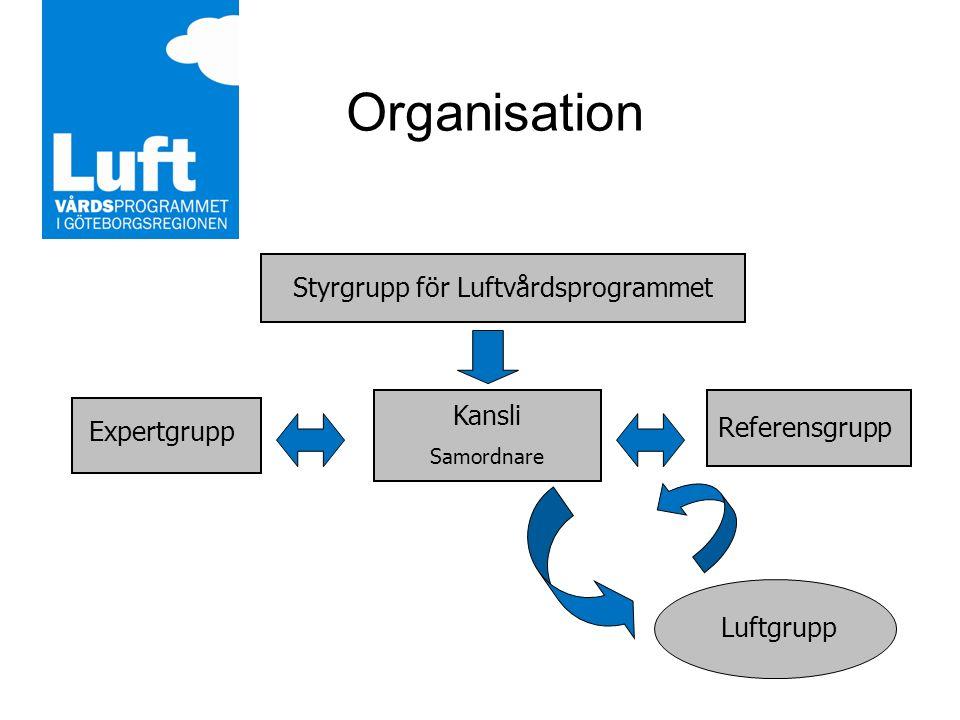 Organisation Styrgrupp för Luftvårdsprogrammet Kansli Samordnare Expertgrupp Referensgrupp Luftgrupp