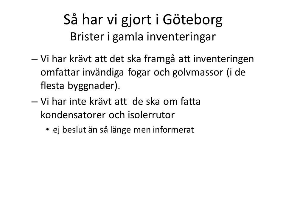 Så har vi gjort i Göteborg Brister i gamla inventeringar – Vi har krävt att det ska framgå att inventeringen omfattar invändiga fogar och golvmassor (i de flesta byggnader).