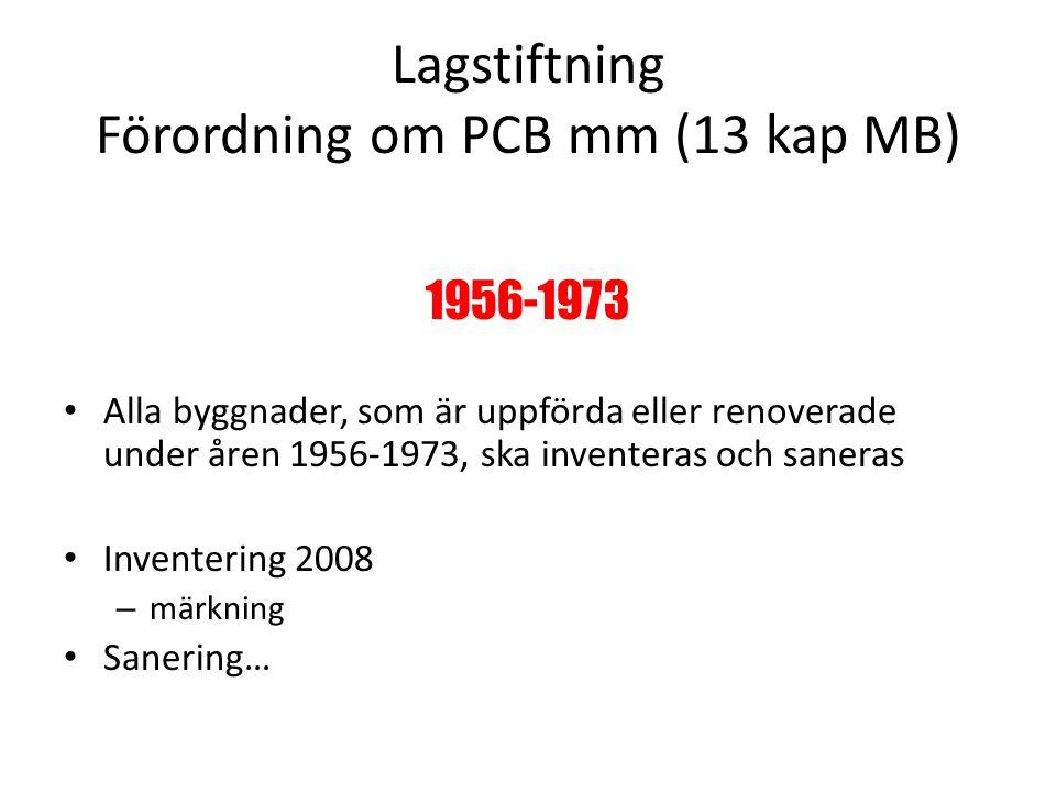 Lagstiftning Förordning om PCB mm (13 kap MB) 1956-1973 Alla byggnader, som är uppförda eller renoverade under åren 1956-1973, ska inventeras och saneras Inventering 2008 – märkning Sanering…